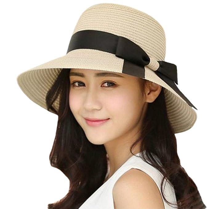 00117c8181784 iHomey Mujeres Sombrero de Paja Sombrero Plegable de ala Ancha UPF 50+  Beach Sun Hats  Amazon.es  Ropa y accesorios