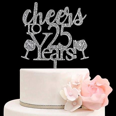 25 Gold Cake Topper 25th Birthday Anniversary