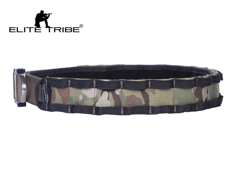 Elite Tribe T/áctico Cintur/ón Aparejadores Cintur/ón D-Ring Molle 1.75-2inch Combate Amy Caza Cintur/ón Multicam Black