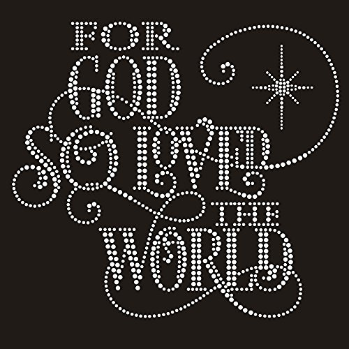 for God So Loved The World Christmas Iron on Rhinestone Crystal T-Shirt Transfer by JCS Rhinestones (Christmas Iron On Transfers For T Shirts)