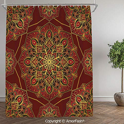 Maroon,Shower Curtain Fabric with Hooks Bath Curtain Waterproof Gifts for Men and Women,60 x 72 Inch,Rich Colorful Ornament Symbol of Cosmos in Arabic Style Medieval Artistic Decorative,Maroon Y (Lilly Pulitzer Bath Accessory Sets Shower Curtains)