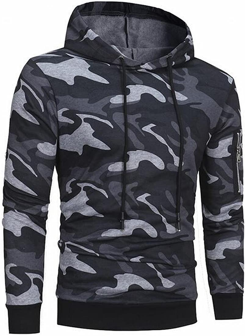 ARTFFEL Mens Hooded Camo Drawstring Slim Fit Pullover Sweatshirt Outerwear