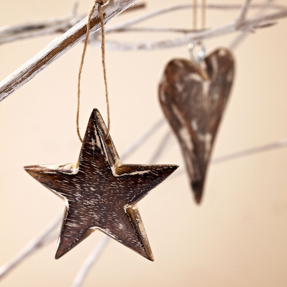 Paper High Mango Wood Star & Heart Christmas Decoration Pack of 2 1 Star & 1 Heart