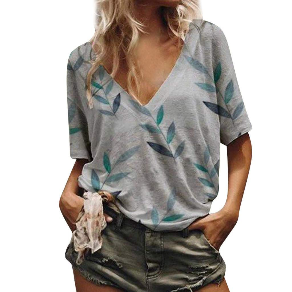 Women's Plus Size Summer Casual Sexy Short Sleeve V Neck Slub Texture Tee Loose Top Tshirt Gray