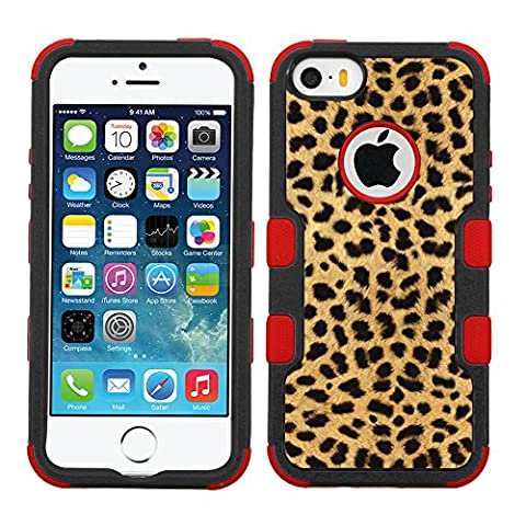 One Tough Shield ® 3-Layer Hybrid Case (Red/Black) for Apple iPhone 5 5s - (Cheetah Gold/Black) (Iphone 5 Cases Cheetah)