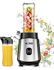 Mini Batidora 500W MLITER, Batidora de Vaso Individual Portátil 2 Vasos, Batidora Multifuncional para