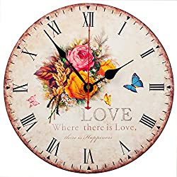 Wall Clock Decorative KI Store Silent Wall Clock Non Ticking Vintage Country Style Wall Clocks 12-Inch for Bedroom Kitchen Living Room Decorations (Rose Love)