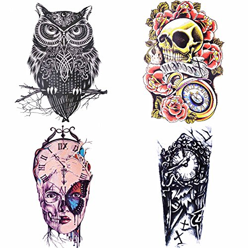 COKOHAPPY 4 Sheets Large Temporary Tattoo , Rose Skull Celtic Owl Cemetary , Easy to Apply and Long Lasting for Women Men (Large Tattoos)