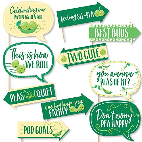 Funny Double The Fun - Twins Two Peas in a Pod - Baby Shower or First Birthday Party Photo Booth Props Kit - 10 Piece ()