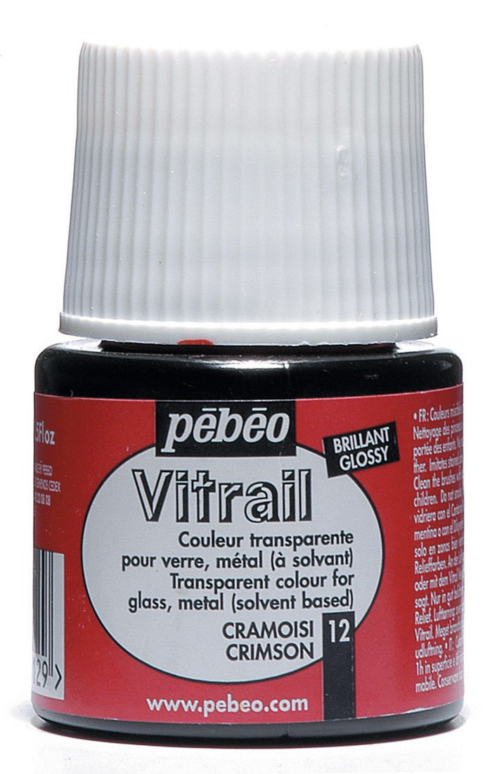Pebeo Vitrail Stained Glass Effect Glass Paint 45-Milliliter Bottle, Crimson,Crimson 050-012