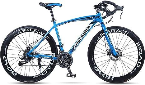 HAOYF Bicicleta De Carretera para Adultos, Bicicletas De Carretera 27 Velocidades Y 26 Pulgadas, Bicicleta De Carreras con Freno De Disco Doble, Cuadro De Acero con Alto Contenido De Carbono,Azul: Amazon.es: Deportes