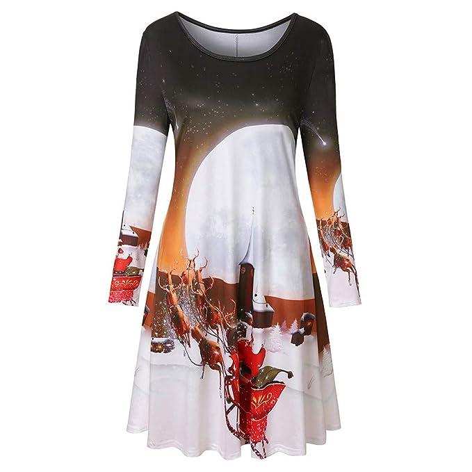 Christmas Dress Women Long Sleeve Vintage Xmas Printing Casual Christmas Party Dress at Amazon Womens Clothing store: