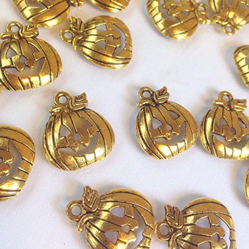 おばけカボチャ ハロウィンチャーム 8個 ジャックランタン ゴールドチャーム アクセサリーパーツ ハンドメイド 手芸材料