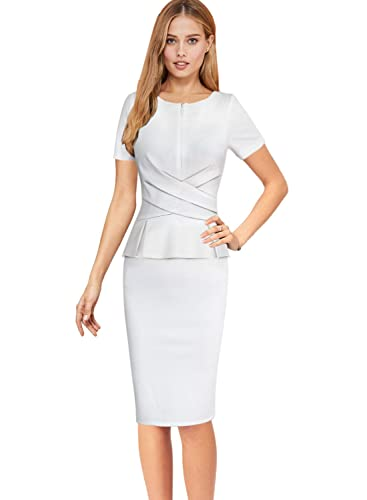 Vfemage Womens Elegant Ruched Zipper Peplum Wear To Work Sheath Dress