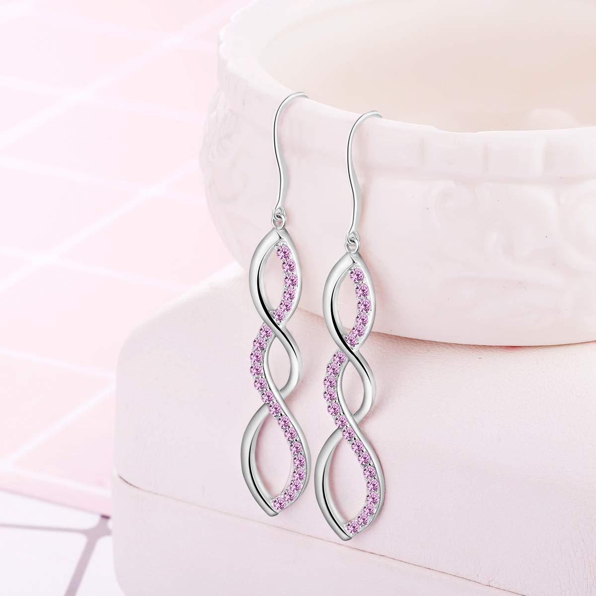 Women\'s 925 Sterling Silver Earrings, Pink Dangle Drop Hook Earring DE0062P