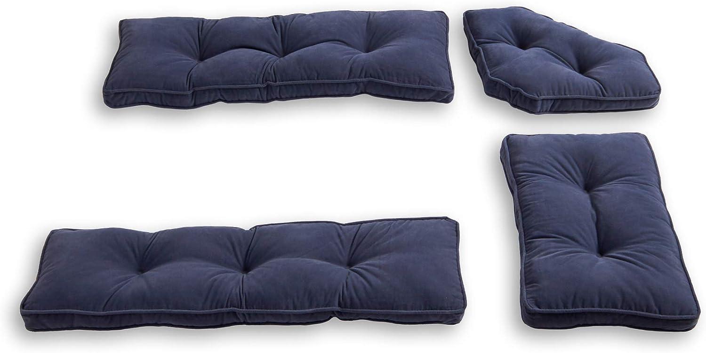 South Pine Porch Hampton 4-Piece Kitchen Nook Cushion Set, Denim