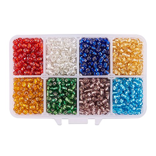 Pandahall 1 Box (About 1600pcs) 6/0 Mixed Color Glass Seed Beads Silver Lined Round Hole Loose Spacer Beads, 4mm