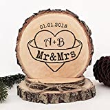 KISKISTONITE Wooden Wedding Cake Toppers Rustic, Personalized Initials Warm Hearts Design, Engraved Mr and Mrs Country Style Cake Decoration Favors Party Decorating Supplies