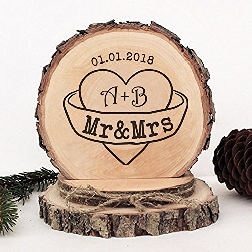 KISKISTONITE Wooden Wedding Cake Toppers Rustic, Personalized Initials Warm Hearts Design, Engraved Mr and Mrs Country Style Cake Decoration Favors Party Decorating Supplies by kiskistonite (Image #2)