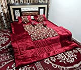 Peponi Maroon Wedding Bedding Set of 9 Pcs (Quilt, Double Bed Sheet, 2 Pillow Covers, 2 Filled Cushions, 2 Filled Bolster Covers with Carpet Free)