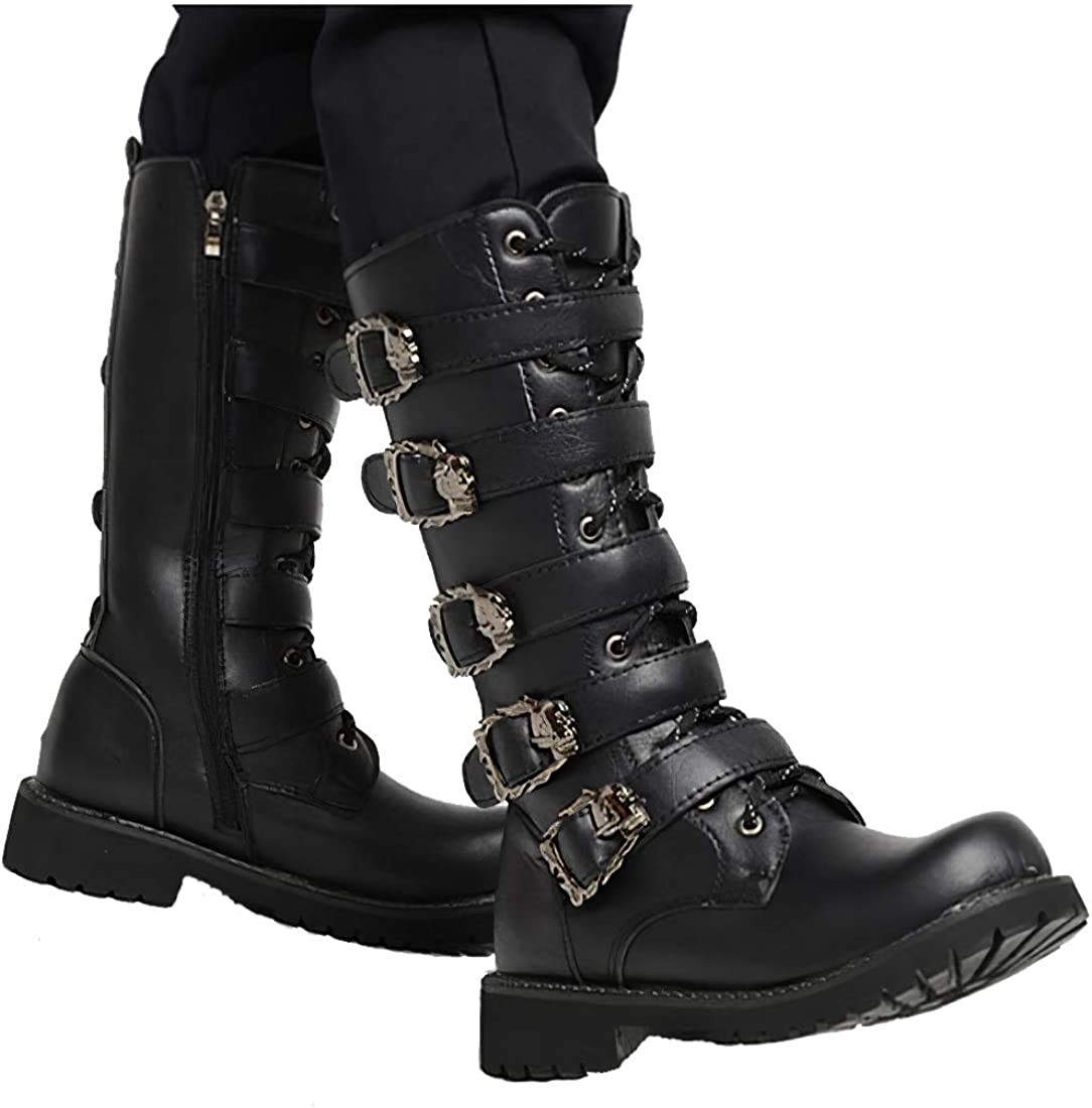Goth Boots Men High Leather Boots Mens