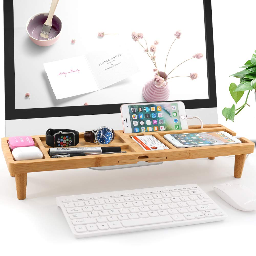 Bamboo Desk Organiser for Office Supplies Storage Stand, Home Desktop Organization Tray Holder Shelf with 6 Compartments for Keyboard, Tablet, Cell Phone, Glasses, Pen, Card and More Accessories