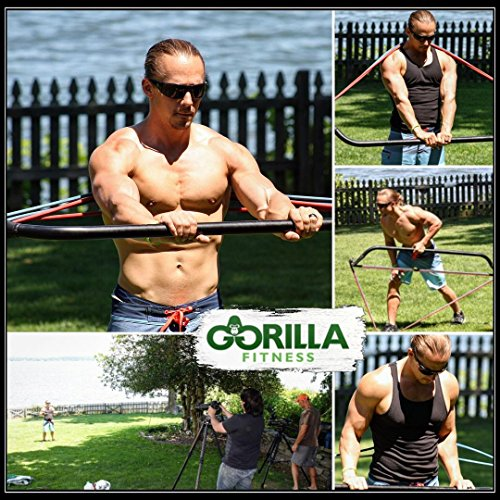 Gorilla Bow Portable Home Gym Resistance Band System Heavy Set, Weightlifting and HIIT Interval Training Kit, Full Body Workout Equipment from Gorilla Fitness