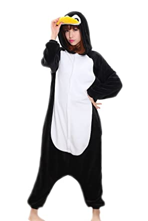 b23e24159d00 Amazon.com  Adrinfly Unisex Penguin Onesies Adult One Piece Animal Pajamas  Cosplay Costume  Clothing