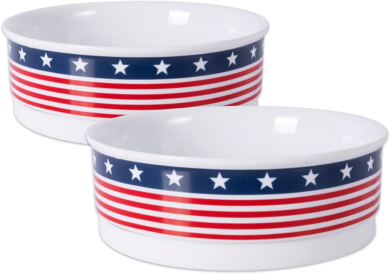 Bone Dry Stars & Stripes Patriotic Flag Ceramic Pet Bowl