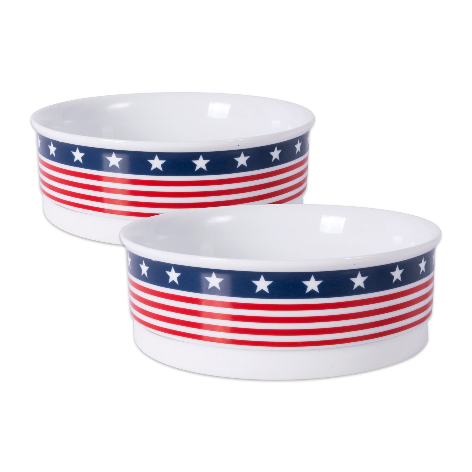 DII Bone Dry Patriotic Ceramic Pet Bowl for Food & Water with Non-Skid Silicone Rim for Dogs and Cats (Medium 6  Dia x 2 H) Stars and Stripes Set of 2