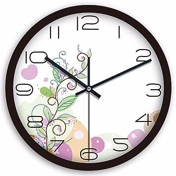 LLSJZ CLOCK Personalidad Creativa Continental idílica Elegante Reloj Reloj de Cuarzo de Oficina Dibujo Mudo Reloj de Pared Reloj de Pared Reloj de Tiempo ...