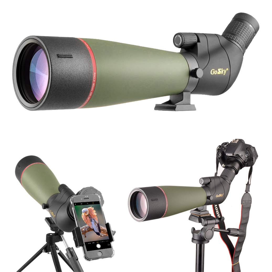 Gosky 2019 Updated Newest Spotting Scope with Tripod, Carrying Bag - BAK4 Angled Scope for Target Shooting Hunting Bird Watching Wildlife Scenery (20-60x80 Scope+Phone Mount+SLR Mount for Canon) by Gosky