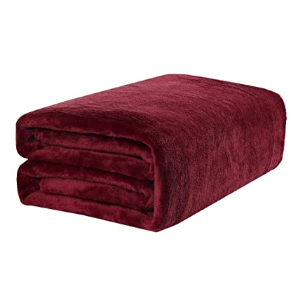 Terrific Uxcell Plush Fleece Blanket Throw Size Soft Warm Lightweight Microfiber Flannel Throw Blanket For Sofa Or Couch 50 X 60 Burgundy Bralicious Painted Fabric Chair Ideas Braliciousco
