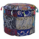 Indian Living Room Pouf, Foot Stool, Round