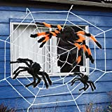 LcLand 4 Pack 11.5Ft Halloween Decorations Spider Web Super Stretch Cobweb Set with 3 Scary Big Giant Spider for Party Favor Outdoor Indoor Yard Decor(White Cobweb)