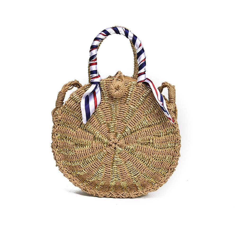 FTSUCQ Womens/Big Girls Round Handmade Crochet Straw Woven Shoulder Handbags Tote Beach Bag Satchels (Gold)