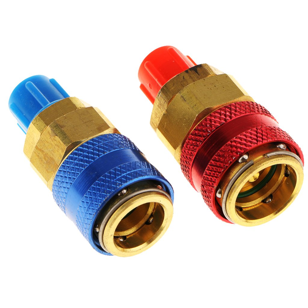 1 Pair AC Manifold Gauge R134a Hose Conversion Kit Quick Adapter Fitting Coupler High and Low Air Conditioning Connector 1/4 Inch Male Flare Straight