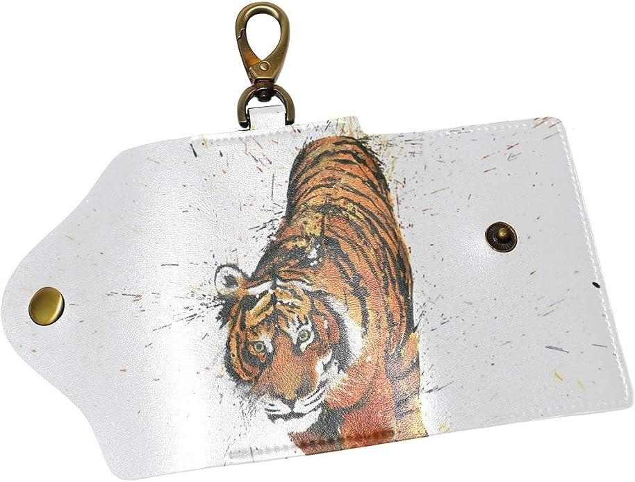 KEAKIA Fish Leather Key Case Wallets Tri-fold Key Holder Keychains with 6 Hooks 2 Slot Snap Closure for Men Women
