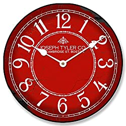 Red & White Wall Clock, Available in 8 sizes, Most Sizes Ship 2 - 3 days, Whisper Quiet.