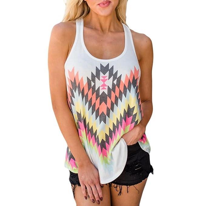 Hffan Damen Tanktops Weste Ärmellos Tops Bluse Reizvolle Afrikanischer  geometrischer Druck T-Shirt Sommerhemd Lose Hemd Blusen Pulli Haushemd  Frauen ... 921cadcc9d