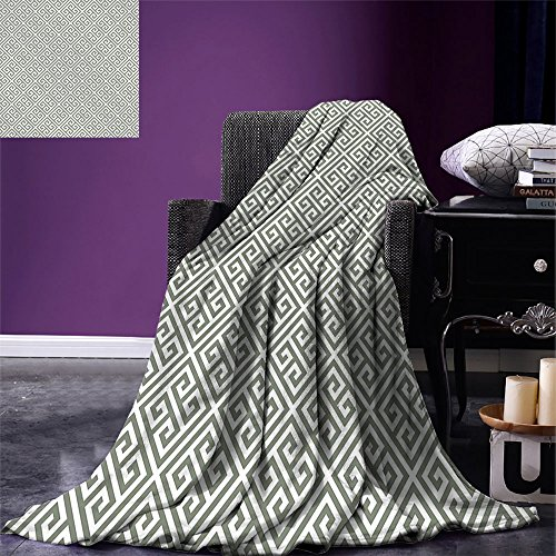smallbeefly Greek Key Throw Blanket Geometrical Composition with Traditional Labyrinth in Sage Green and White Warm Microfiber All Season Blanket for Bed or Couch Sage Green White