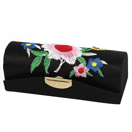 sourcingmap Floral Bordado Mujer Labios Lápiz Labial Chap Frote Estuche De Maquillaje Caja Negro Halloween/Víspera de Todos los Santos