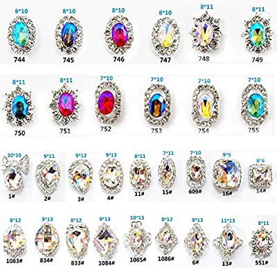 30PCS 3D Luxury Clear Colored Shining Diamond Rhinestone Alloy Nail Art Decorations Charming Fashionable DIY Distinctive Nail Art Work (Multi)