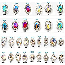 30PCS 3D Luxury Clear Colored Shining Diamond Rhinestone Alloy Nail Art Decorations Charming Fashionable DIY Distinctive Nail Art Work