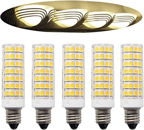 5 Pack E11 Led Bulb Dimmable 8w Equivalent To 100w 75w Halogen Bulb 1000lm Naturally Daylight White 6000k Jd T4 E11 Mini Candelabra Bulb For