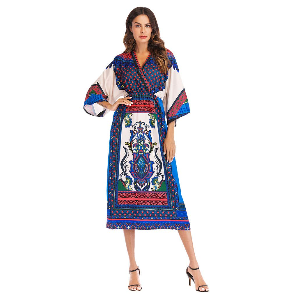 OverDose Boutique Damen Kleider, Frauen schlank Vintage Nationaler Stil Boho Blumendruck Rundhals Langarm Kimono Taillenband Freizeit Dress Midi Sommerkleider Strandkleid