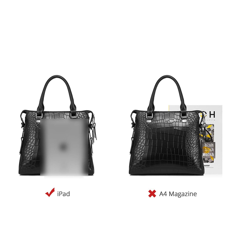 30cm小于Max Length小于50cm handbag genuine leather tote bag briefcase alligator embossed leather bag,Black,