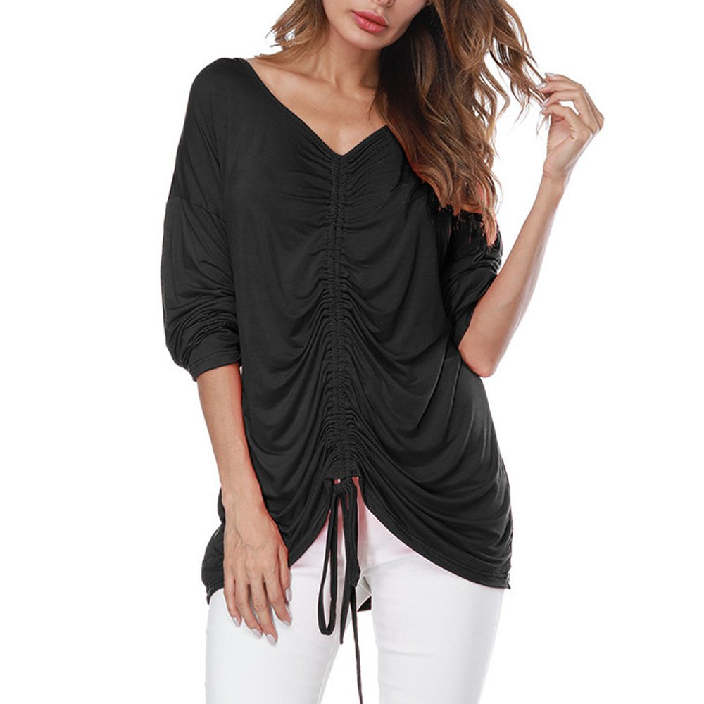 HHei_K Womens Sexy Solid V-Neck Drawstring Ruched Dropped Shoulder Long Sleeve Loose T-Shirt Blouse