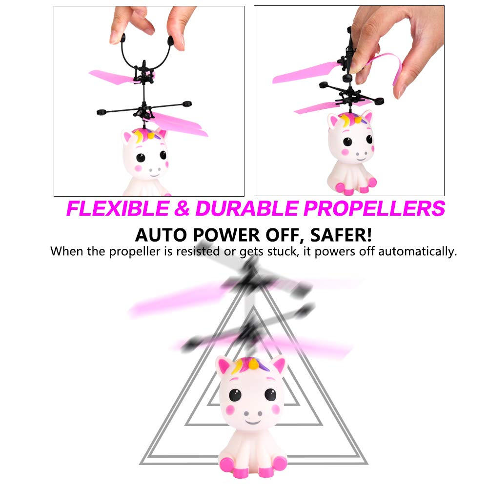 Flying Unicorn Toys Flying Fairy Toys for Girls Flying Ball RC Helicopter with Remote Control Hand Controlled Horse Unicorn Birthday for 3 4 5 6 7 8 9 Year Old Girls Boys Kids by GearRoot (Image #5)