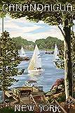 Canandaigua, New York - Lake View with Sailboats (12x18 Art Print, Wall Decor Travel Poster)